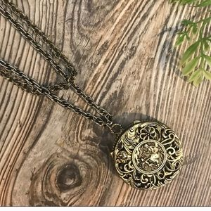 Cool antique big locket necklace